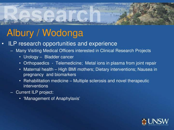 ILP research opportunities and experience