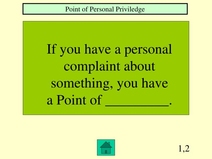 Point of Personal Priviledge