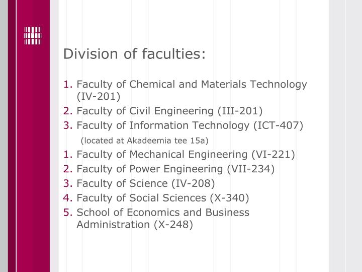 Division of faculties