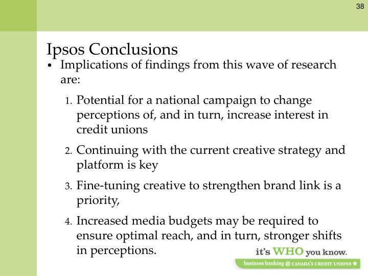 Ipsos Conclusions