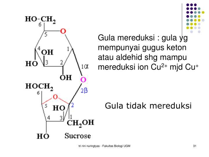 Gula mereduksi : gula yg mempunyai gugus keton atau aldehid shg mampu mereduksi ion Cu