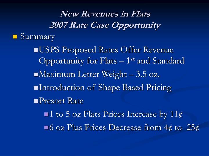 New Revenues in Flats