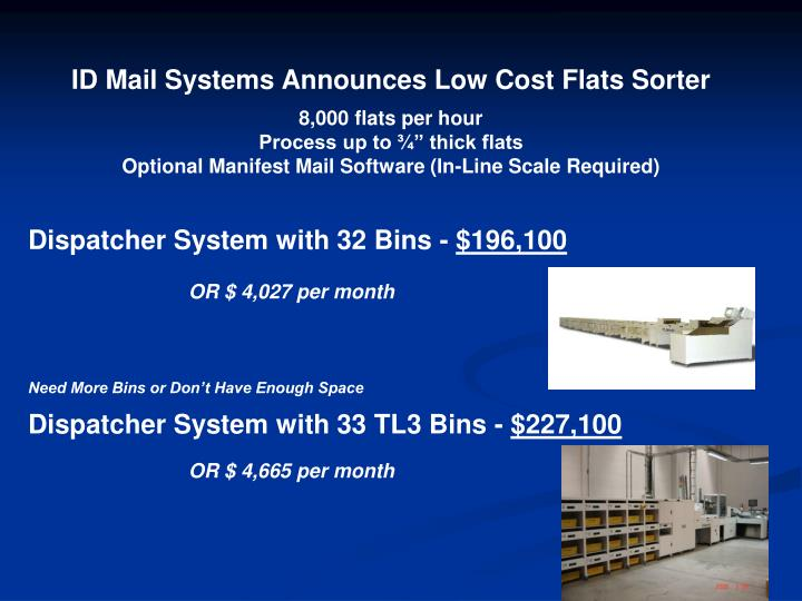 ID Mail Systems Announces Low Cost Flats Sorter