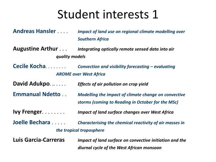 Student interests 1