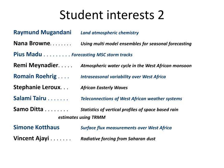 Student interests 2
