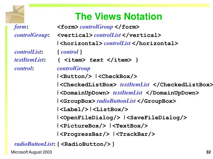 The Views Notation