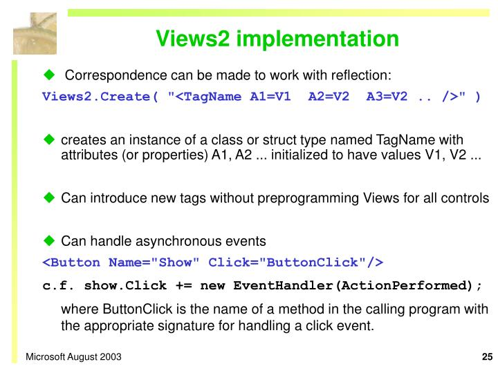 Views2 implementation