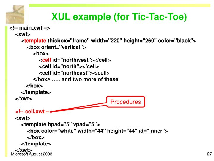 XUL example (for Tic-Tac-Toe)