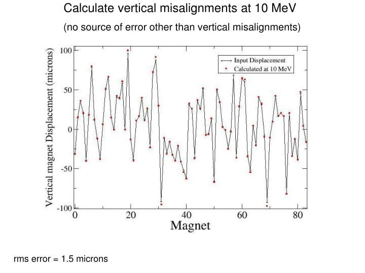 Calculate vertical misalignments at 10 MeV