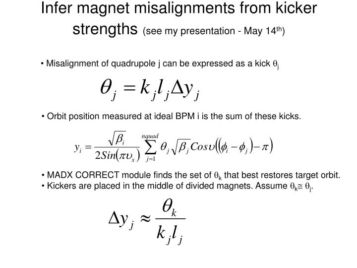 Infer magnet misalignments from kicker strengths