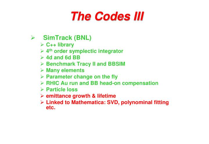 The Codes III