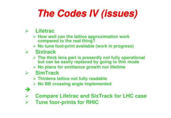 The Codes IV (issues)