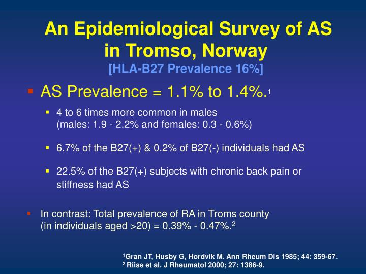 An Epidemiological Survey of AS in Tromso, Norway