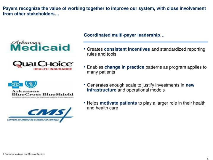 Payers recognize the value of working together to improve our system, with close involvement from other stakeholders…