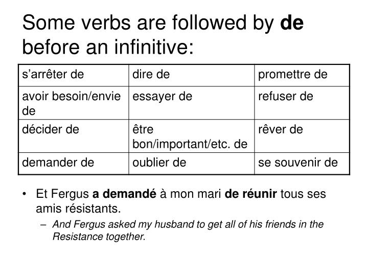 Some verbs are followed by