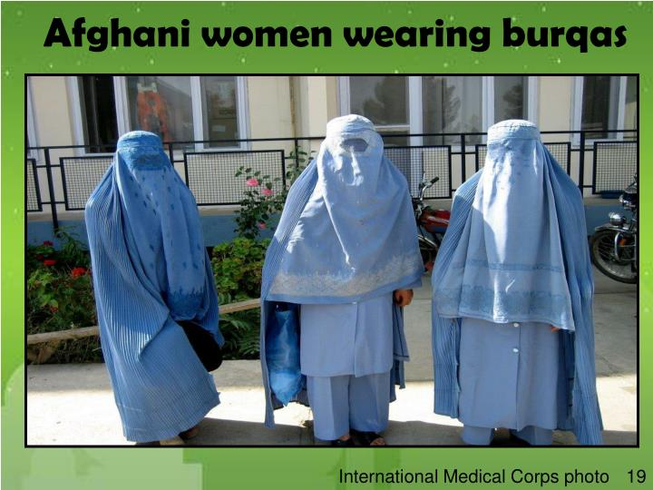 Afghani women wearing burqas