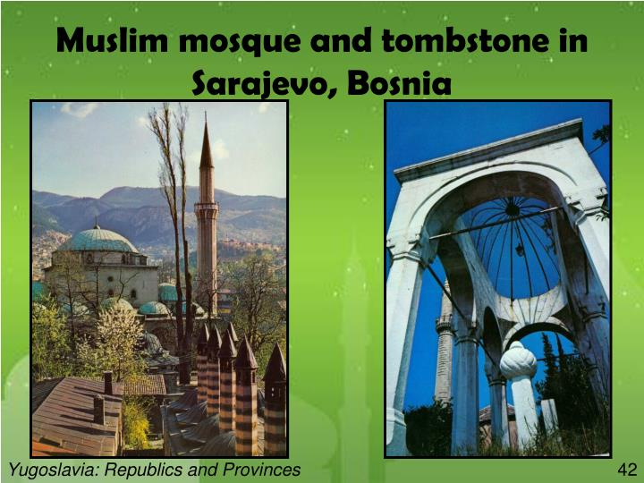 Muslim mosque and tombstone in Sarajevo, Bosnia
