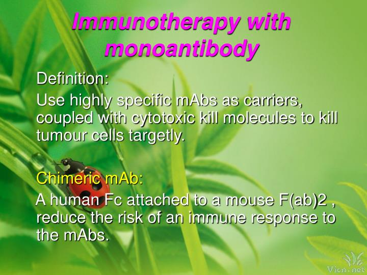 Immunotherapy with monoantibody