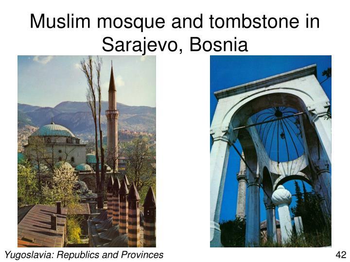 Muslim mosque and tombstone in Sarajevo, Bosnia