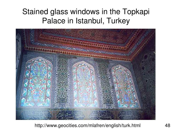 Stained glass windows in the Topkapi Palace in Istanbul, Turkey