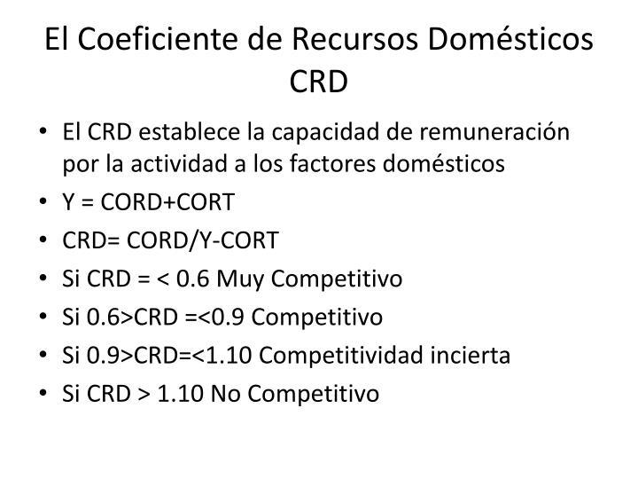 El Coeficiente de Recursos Domésticos CRD