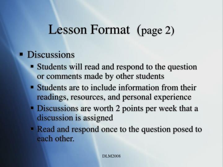 Lesson Format  (