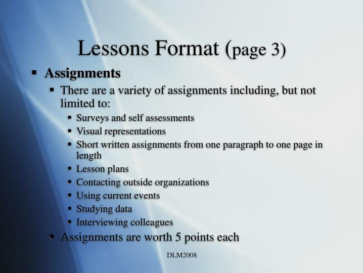 Lessons Format (