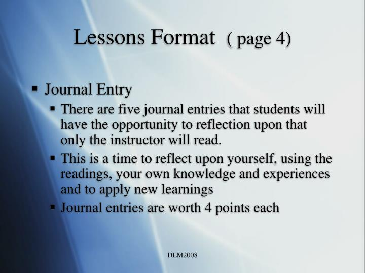 Lessons Format