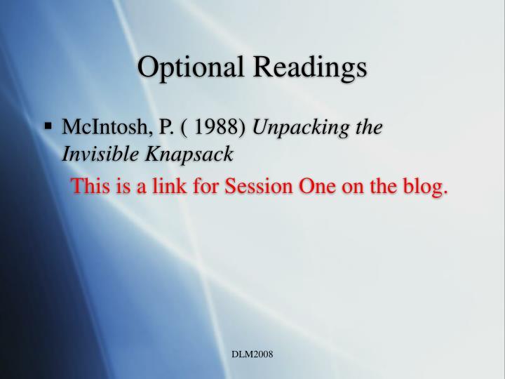 Optional Readings