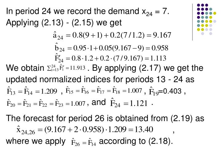 In period 24 we record the demand x