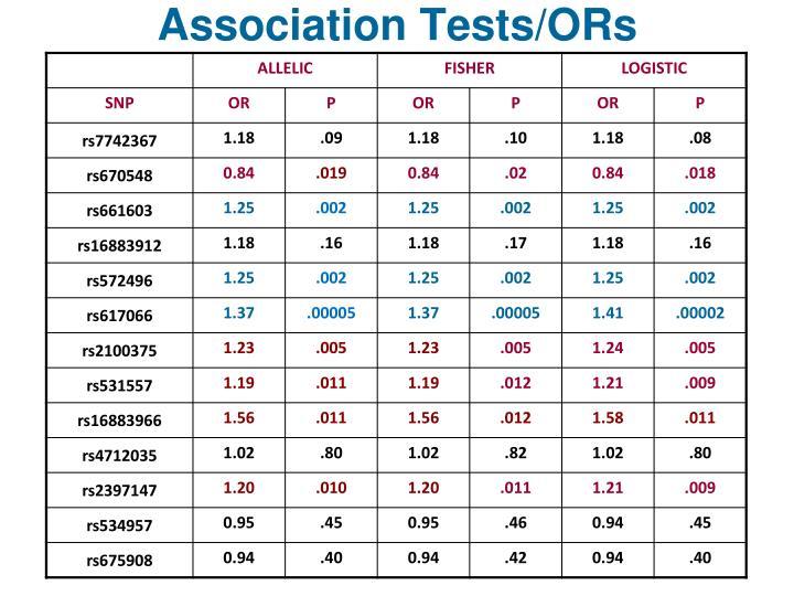 Association Tests/ORs