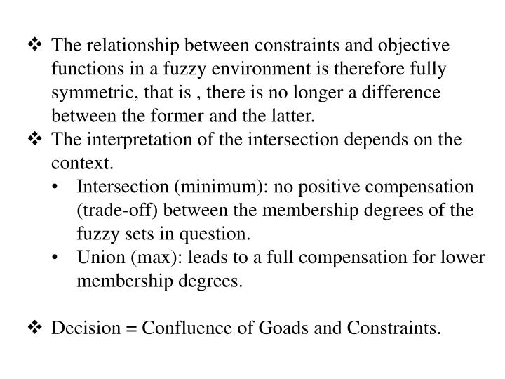 The relationship between constraints and objective functions in a fuzzy environment is therefore fully symmetric, that is , there is no longer a difference between the former and the latter.