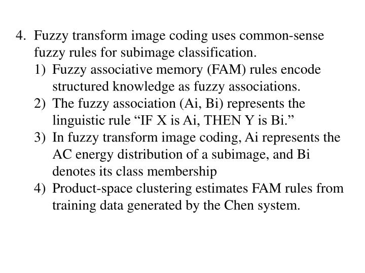 Fuzzy transform image coding uses common-sense fuzzy rules for subimage classification.