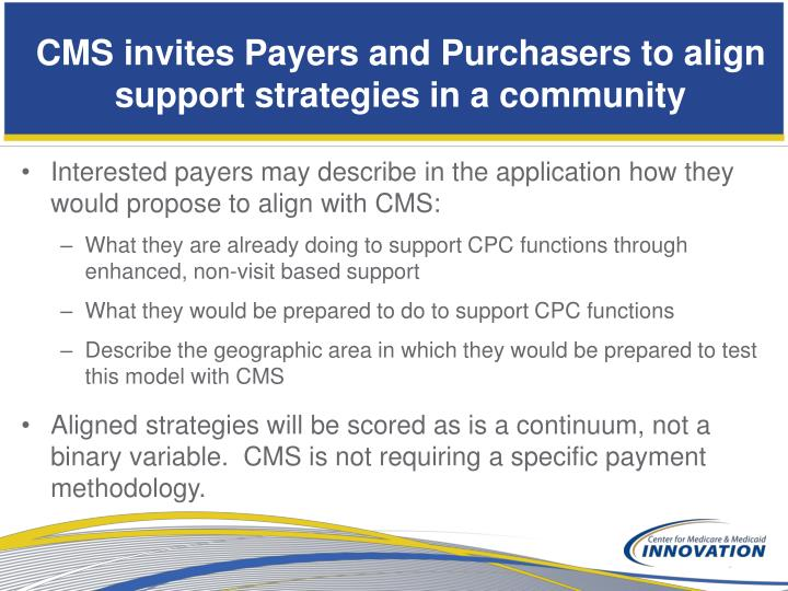CMS invites Payers and Purchasers to align support strategies in a community