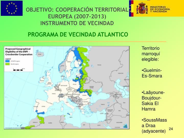 OBJETIVO: COOPERACIÓN TERRITORIAL EUROPEA (2007-2013)