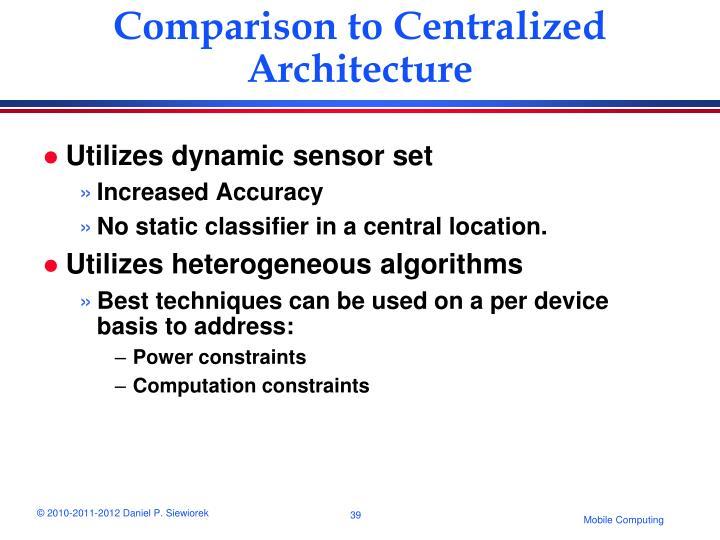 Comparison to Centralized Architecture