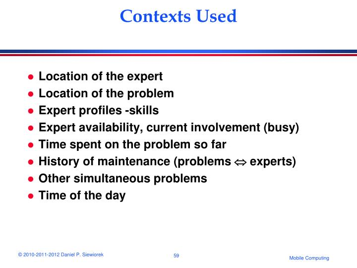 Contexts Used