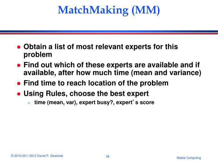 MatchMaking (MM)