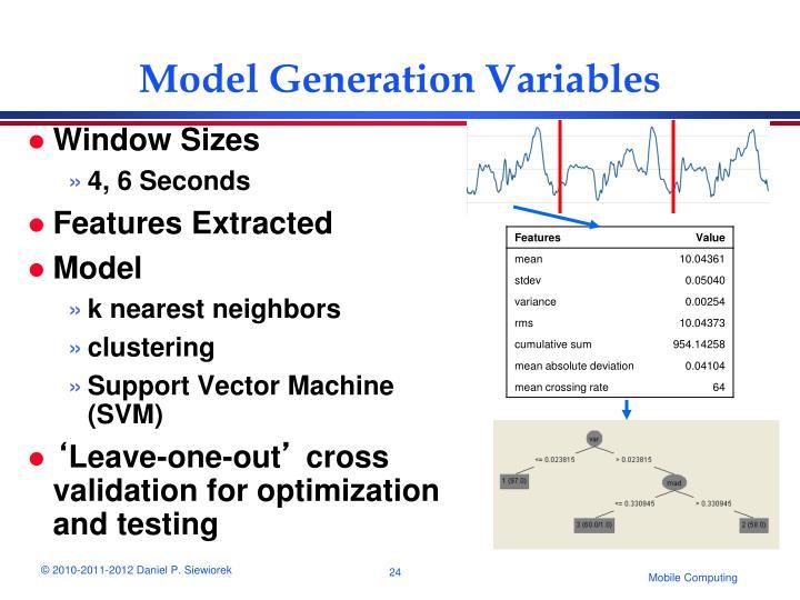 Model Generation Variables