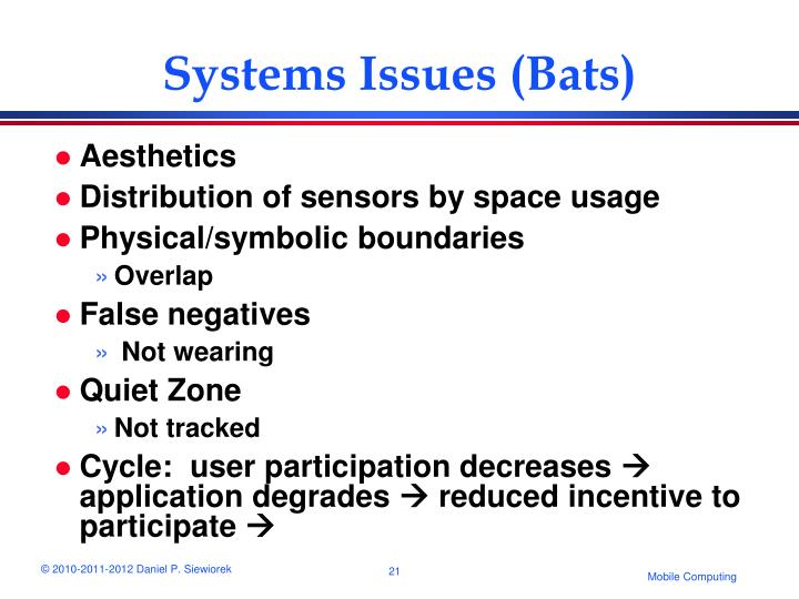Systems Issues (Bats)