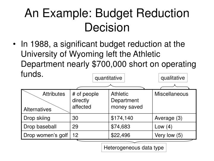 An Example: Budget Reduction Decision