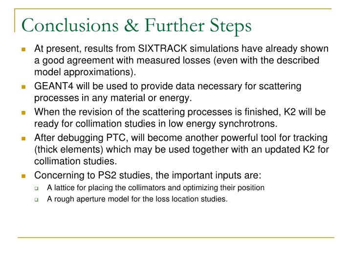 Conclusions & Further Steps
