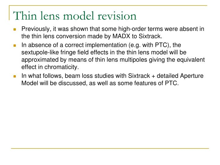 Thin lens model revision