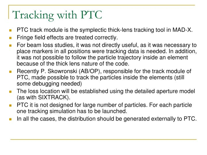 Tracking with PTC