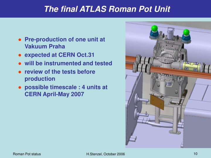 The final ATLAS Roman Pot Unit