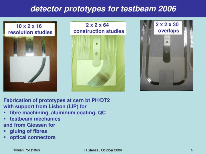 detector prototypes for testbeam 2006