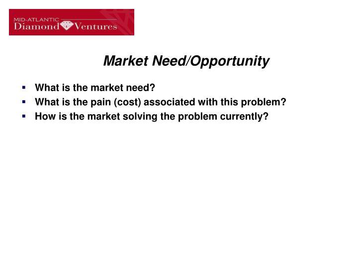 Market Need/Opportunity