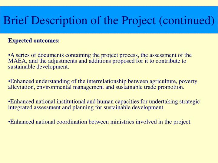 Brief Description of the Project (continued)