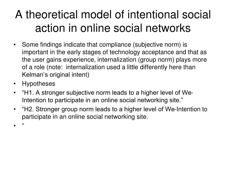 A theoretical model of intentional social action in online social networks