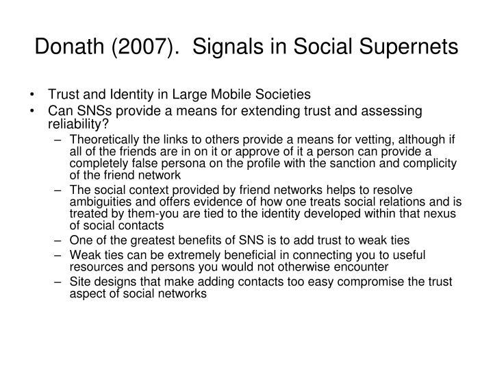 Donath (2007).  Signals in Social Supernets